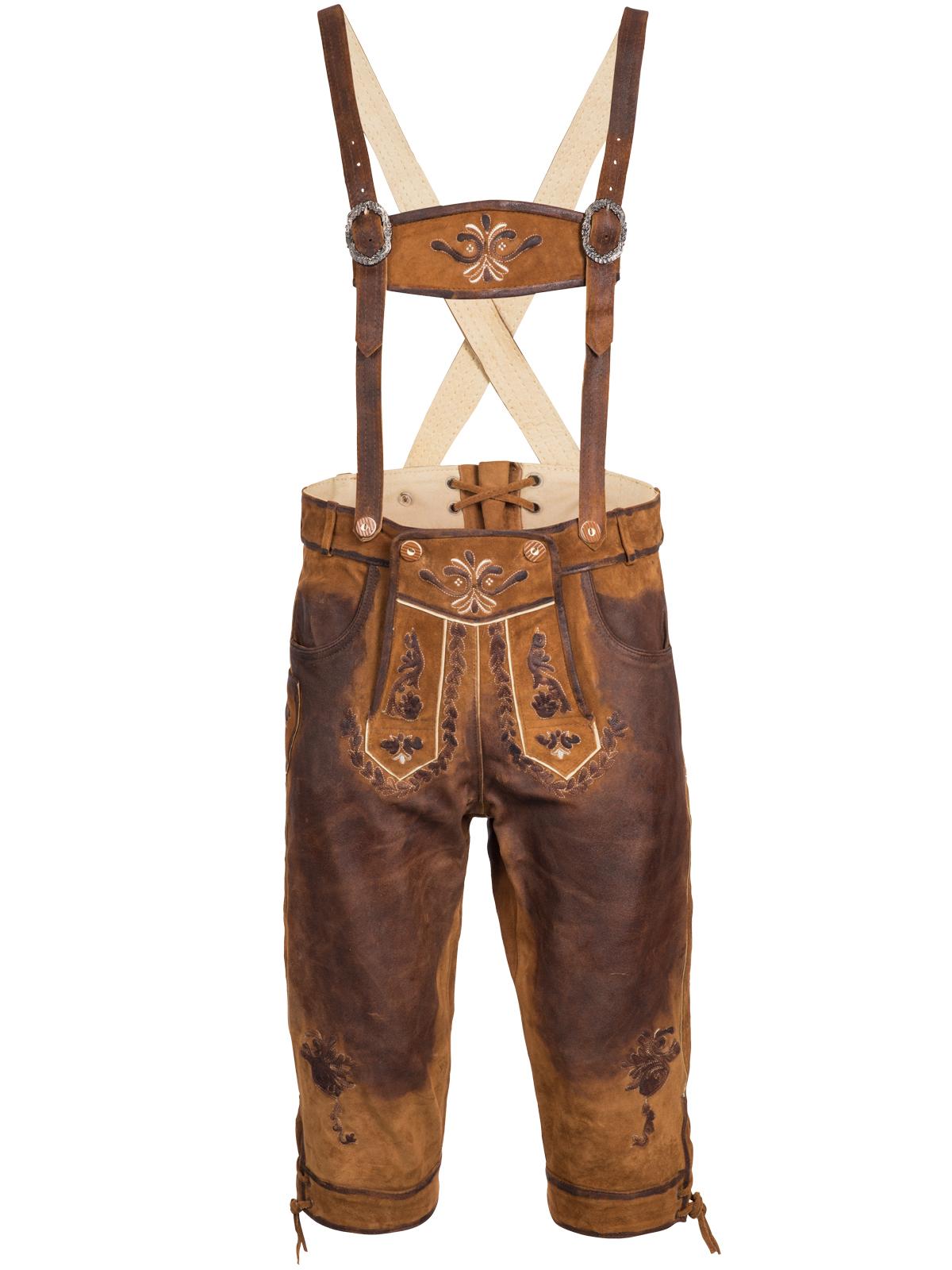 Homme Bavarois Short Lederhosen Vachette Cuir avec Assorties Bretelles